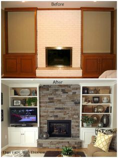 Built-in's around fireplace. If possible would be nice to have the tv above the fireplace Fireplace Built Ins, Fireplace Remodel, Fireplace Inserts, Fireplace Wall, Inset Fireplace, Basement Fireplace, Fireplace Update, My Living Room, Home And Living