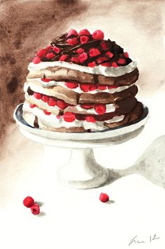 Chocolate Raspberry Layer Cake on Pedestal Digital Print of Watercolor Painting 6 x 9 Chocolate Pavlova Whipped Cream Gourmet. $12.00, via Etsy.