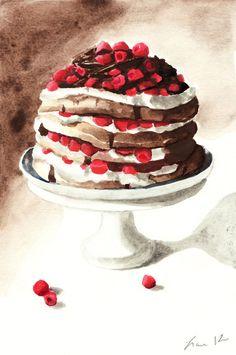 Chocolate Raspberry Layer Cake on Pedestal Digital Print of Watercolor Painting 6 x 9 Chocolate Pavlova Whipped Cream Gourmet. $12.00, via Etsy.