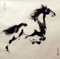 Horse - by Tien Chang, Toronto, Ontario, Canada Horse Drawings, Animal Drawings, Japanese Painting, Japanese Art, Sumi E Painting, Knife Painting, Horse Artwork, Guache, Chinese Art
