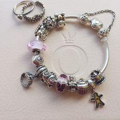 #pandora, #pandoraaddicted, #jewelry, #bracelet, #charms, #pink, #murano, #mypandora