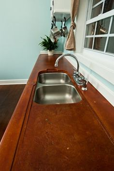 Red Concrete, Textured Drainboard  Concrete Countertops  Reformed Concrete LLC  Quarryville, PA