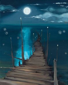 Dock to the Moon - Elementerra • Acrylic Canvas Painting
