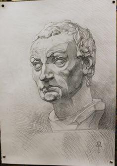 Учебный рисунок гипсовой головы Гаттамелаты