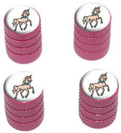 "Amazon.com : (4 Count) Cool and Custom ""Diamond Etching Unicorn Top with Easy Grip Texture"" Tire Wheel Rim Air Valve Stem Dust Cap Seal Made of Genuine Anodized Aluminum Metal {Rose Tesla Pink and White Colors - Hard Metal Internal Threads for Easy Application - Rust Proof - Fits For Most Cars, Trucks, SUV, RV, ATV, UTV, Motorcycle, Bicycles} : Sports & Outdoors"