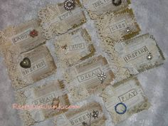 Scrappy Fabric and Lace Tags - Love this vintage look for Valentines