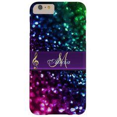 Rainbow Glitter Music Clef Monogram iPhone 6 Case.     #iPhone  #iPhone6  #music