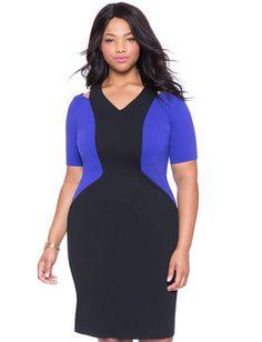 Plus Size Cutout Colorblock Dress From The Plus Size Fashion At www.VinageAndCurvy.com