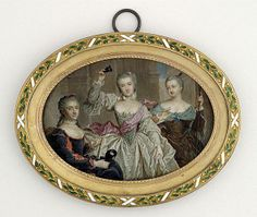 Miniature portraits: Daughters of Louis XV dressed for a masque, 1758