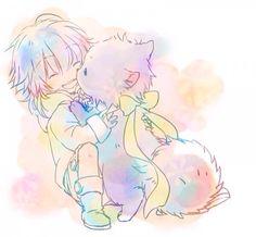 Dmmd - Little Aoba and Ren ren- the dog with an extremely deep voice Bl Games, Nitro Chiral, Deadman Wonderland, Dramatical Murder, Awesome Anime, Anime Chibi, Cute Art, Super Cute, Fan Art