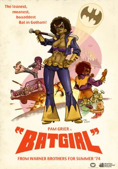 Illustrator Todd McArthur posted a cool poster of black cinema actress/icon Pam Grier as Bat Girl! The illustration spoofs Coffey as Bat Girl Batgirl, Catwoman, Comic Books Art, Comic Art, Comic Character, Character Design, Humour Geek, Black Comics, Dc Comics