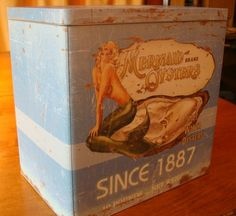 vintage beach decor   Vintage Mermaid Oysters Kitchen Canister Seafood Restaurant Beach Home ...