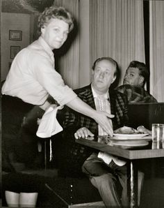 A rare candid shot of comic legend Larry Fine at the Highlander Inn Restaurant in Calgary Alberta, Canada, circa of Terry Soto