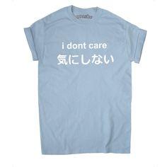 カワイイようでいて世界をナメくさった態度も感じられとてもカワイイ。欲しい。◆i dont care Japan Japanese Kawaii Soft Grunge Anime Pastel T-Shirt ($13) ❤ liked on Polyvore featuring tops, t-shirts, blue cotton t shirts, blue t shirt, animal t shirts, cotton tee and animal print t shirts