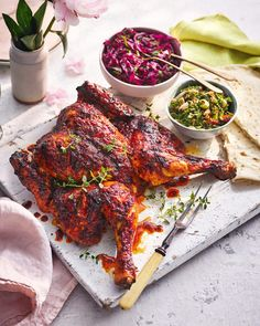 Learn how to spatchcock a chicken with this harissa and honey recipe, complete with pickled cabbage and a nutty almond tabbouleh. Honey Recipes, Spicy Recipes, Brunch Recipes, Cooking Recipes, Healthy Recipes, Summer Roast Recipes, Roast Chicken Recipes, Spicy Roast Chicken, Roasted Chicken