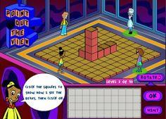"""""""Point out the view"""" trata de que representes en el tablero inferior las vistas laterales de una construcción desde el punto de vista de cada personaje situado a los cuatro lados del tablero. Con diez niveles de dificultad, es un excelente juego para desarrollar la capacidad de visión abstracta y de representación espacial."""