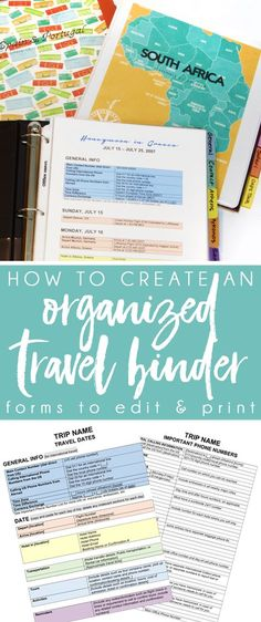 CREATE AN ORGANIZED TRAVEL BINDER with these free printable travel planning pages! Start planning your next vacation using this travel itinerary template perfect for travel near home or abroad. Make your trip stress free by following these international travel tips!