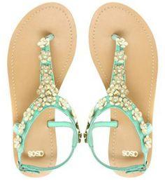 aqua floral sandals