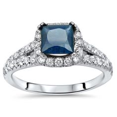 Shop for White Gold Princess-cut Blue Sapphire and TDW Diamond Engagement Ring (F-G, Get free delivery On EVERYTHING* Overstock - Your Online Jewelry Destination! Sapphire Jewelry, Blue Sapphire Rings, Sapphire Gemstone, Diamond Rings, Diamond Cuts, Modern Engagement Rings, Gemstone Engagement Rings, Sapphire Diamond Engagement, Fashion Rings