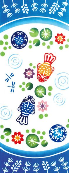 [気音間]注染手ぬぐい【夏・きんぎょ】浮き玉金魚日本手拭い(てぬぐい)メール便送料無料♪手ぬぐい専門店「わざっか本舗」