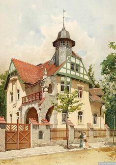Альбом цветных литографий был выполнен австрийским художником Райнхольдом Фёлкелом, представляет из себя изображение немецких загородных вилл начала XX века.