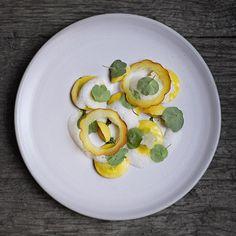 Delicata Squash Ravioli with Meyer Lemon and Nasturtium - by Bryce Shuman #plating #gastronomy #artofplating #gastroart photo by signebirck