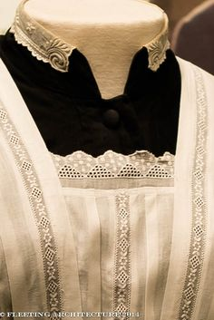 Closeup of maid's apron and collar from Downton Abbey