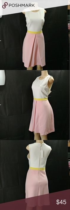 "Erin Fatherston Colorblock Sleeveless Dress Erin Fatherston Colorblock Sleeveless Dress ??, size 16-regular, color Ivory-Pink, crew neck, sleeveless, Colorblock, back zip closure, 36"" lenght, made of polyester and spandex blend, compare $195.00?? store retail price, comes new with tag as closeout item in ??good cosmetic condition. ERIN by Erin Fetherston Dresses Midi"