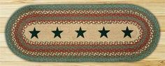 Green Stars Braided Runner - Oval Patch Braided Runner measures 13x36