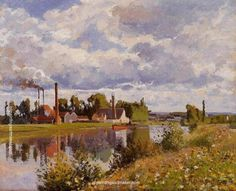 Camille Pissarro The River Oise near Pontoise, 1873 painting outlet online, painting Authorized official website