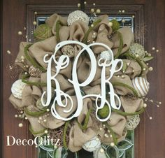 24 BURLAP and MOSS MONOGRAM Wreath by decoglitz on Etsy