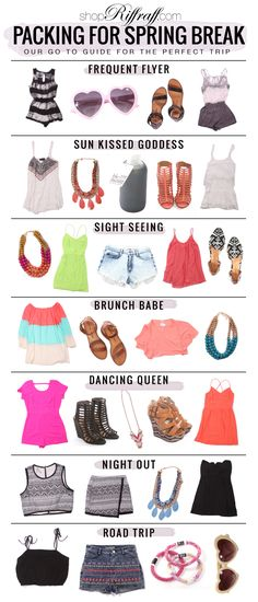 What to pack for spring break! Girls night out, road trip, brunch babe, sight seeing...