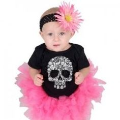 Skull and Crossbones are very in these days for babies, kids or adults.    I have been looking everywhere for the coolest skull clothing for Harper...