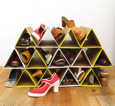 Save money and space in your closet with this quick and easy Space-Saving DIY Shoe Rack. You can put together this DIY shoe organizer in less than an hour using recycled materials. Shoe Storage Rack, Diy Shoe Rack, Diy Storage, Storage Ideas, Shoe Racks, Storage Solutions, Diy Rack, Organizing Solutions, Hanging Storage
