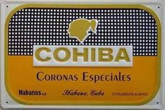 """Cohiba Coronas Cigars embossed metal sign by signs-unique hi. $29.95. High quality convex steel sign with heavily embossed image and deeply convex in section   Not a thin, flexible sign   Pre-drilled holes for fixing   New replica of an old sign   Officially licensed   300mm x 200mm (12"""" x 8"""")"""