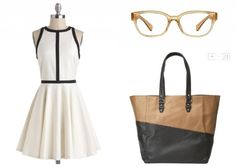 Ideas for accessorizing with new glasses: Modcloth Dress, 9 West How-To Tote, Lookmatic Bel Air glasses