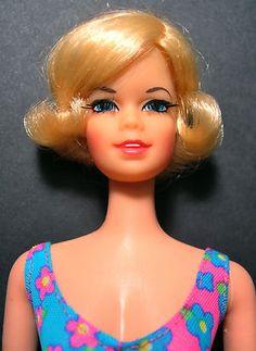 YEAR ? Twist N Turn TNT Short Flip STACEY Doll in pink / blue floral OSS Blonde 1165 Mattel