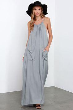 drawstring neck, patch pockets, maxi beach dress