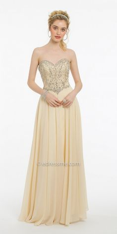 8a76071a9a3 Brighten up the room in the Strapless Beaded Sweetheart Bodice Chiffon Prom  Dress by Camille La