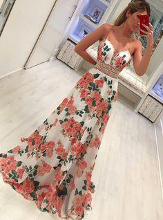 Straps Floral Long Prom Dress