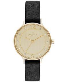 Skagen Women's Anita Black Leather Strap Watch 30mm SKW2266