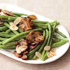 Calling all mushroom lovers! Mix up your #Thanksgiving green beans and try our Beans n Shrooms recipe! | Click here for 13 more Green Bean recipes: http://www.rachaelraymag.com/recipes/thanksgiving-green-bean-recipes/2/