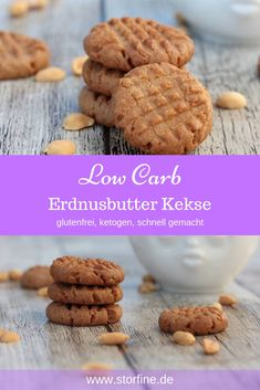 These small, sugar-free cookies are right for peanut lovers. My Peanut Butter Cookies are not only made quickly, they are also the ideal low carb cookies. Low Carb Cookies, Sugar Free Cookies, Low Carb Desserts, Easy Desserts, Low Carb Recipes, Low Carb Peanut Butter, Peanut Butter Cookies, Cookie Fit, Scones Ingredients