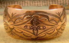 Wide Navajo Decorative Stamped Copper Bracelet
