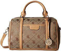6026ff0a48d U.S. Polo ASSN. Designer Handbags Women's Logo Jacquard Satchel Bag - Beige  (More Colors