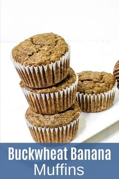 Eggless buckwheat banana muffins recipe - made using buckwheat flour (kuttu ka atta), banana, butter and brown sugar. The ingredients used in the recipe are allowed in Hindu fasting or vrat or upvaas. So these muffins can be eaten during the vrat or fast like Navratri, ekadasi. These muffins are very soft, moist and spongy. The taste and texture will be different than regular muffins. Healthy Muffin Recipes, Healthy Muffins, Buckwheat Muffins, Navratri Recipes, Chocolate Banana Muffins, Eggless Baking, Gluten Free Muffins, Curry Recipes, Indian Food Recipes