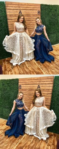 Two Piece Lace Long Prom Dress, 2018 Prom Dress by PrettyLady on