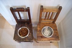 old wooden kid chairs + cut hole + bowl = pet food holders My big dogs will love this.