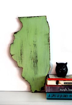 Illinois state (Pictured in Moss) Pine Wood Sign Wall Decor Rustic Americana Cottage Country Chic Alternative Wedding Guest Book on Etsy, $32.00