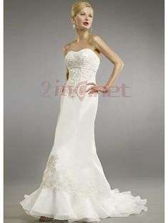 $335.45Alluring Satin Sweep Train Empire Strapless Wedding #Dress #With #Embroidery
